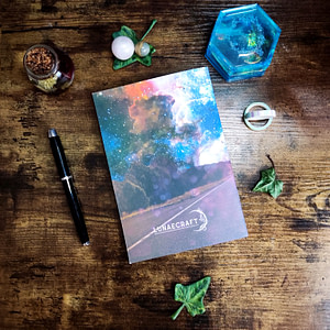 route avec ciel étoilé et galaxy carnet personnalisable